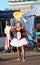 Stock Image : 美国, AZ :街道艺术家-火呼吸/燃烧