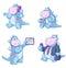 Stock Image : Динозавры используя технологию