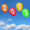 Stock Image : 2013 Balloons In Sky Representing Year Two