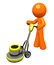 Stock Image : 3d Orange Man with Floor Buffer
