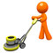 Stock Image : 3d Orange man with floor scrubber