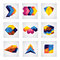 Stock Image : Abstract 3d squares, arrows & cube element design vector icons.