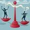 Stock Image : Abstrakcjonistyczna biznesmen równowaga na gigancie Waży