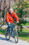 Stock Image : Active man riding bike in park