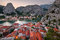 Stock Image : Aerial View on Omis and Cetina River Gorge in the Evening