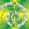 Stock Image :  Affiche musicale de ressort avec la clef triple et les notes