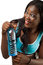 Stock Image : African American woman with bottle of water