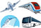 Stock Image : Airplane, Bus, Cruise Ship, and Train