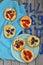 Stock Image : All sorts of mini pizzas. Italian cuisine