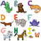Stock Image : Alphabet with cartoon animals 1