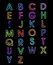 Stock Image : alphabet fonts laser light  a-z