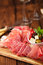 Stock Image : Antipasti Platter of Cured Meat,   jamon, olives, sausage, salam