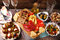 Stock Image : Appetizers and antipasti on wooden table