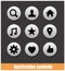 Stock Image : Application pictogram symbols set silver color
