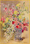 Stock Image : The aquarelle of the bouqet of roses by Madeleine Lemaire from begin of 20. cent. in palace Saint Anton