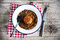 Stock Image : Arancini stuffed italian rice balls with forest mushroom ragout