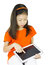 Stock Image : Asian Young girl is using tablet