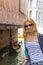 Stock Image : Attractive girl  on a bridge in Venice