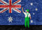 Stock Image : Australian flag painted over brick wall by house painter