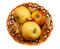 Stock Image : Autumn decoration with apples and leaves in a basket