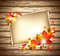 Stock Image : Autumn Foliage with Paper Sheets on Wooden Background