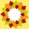 Stock Image : Autumn leaf border background
