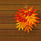 Stock Image : Autumn leaves with rowan on wooden background 3