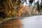 Stock Image : Autumn view of lake, trees