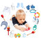 Stock Image : Baby boy and accessories for children in a circle around