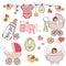 Stock Image : Baby girl shower elements set