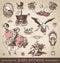 Stock Image : Baby shower antique design elements set (vector)