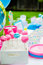 Stock Image : Baby shower candy decorations on table