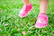 Stock Image : Baby steps on grass