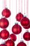 Stock Image : Background of Christmas balls over white with selective focus