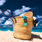 Stock Image : Beautiful beach with bag at Seychelles