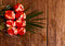 Stock Image : Beautiful bouquet of red roses on wooden background