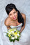 Stock Image : Beautiful bride with bouquet - from above
