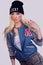 Stock Image : Beautiful fashionable blonde model posing