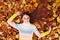 Stock Image : Beautiful girl at autumn. Healthy Long Hair