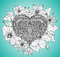 Beautiful hand drawn ornate heart in zentangle style with clemat