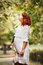 Stock Image : Beautiful pregnant woman outdoor portrait