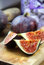 Stock Image : Beautiful ripe fresh pulpy figs on the table