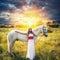 Stock Image : Beautiful sensual women with white horse