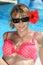 Stock Image : Beautiful sexy woman in bikini at the pool