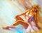 Stock Image : Beautiful sitting ballerina