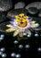 Stock Image : Beautiful spa setting of passiflora flower on zen basalt stones