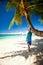 Stock Image : Beautiful woman on beach
