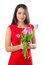 Stock Image : Beautiful woman with tulips