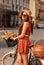 Stock Image : Beautiful Woman Walking in the City
