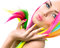 Stock Image : Beauty Girl Portrait with Colorful Makeup